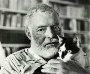 Hemingway face with a domestic cat