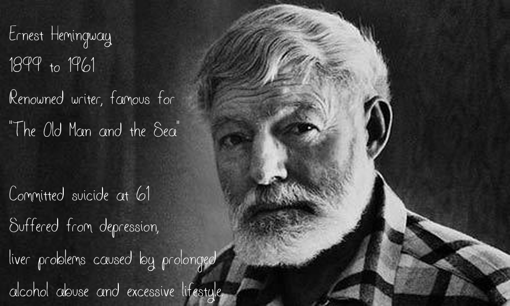 Hemingway with note about suicide