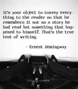 Hemingway with typewriter about real writer