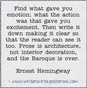 Hemingway writing is not architecture