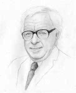 Ray Bradbury head shot white