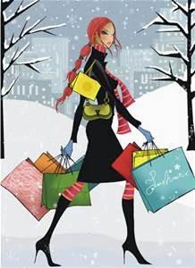 Christmas shopper in heels