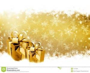 Gifts wrapped with gold paper