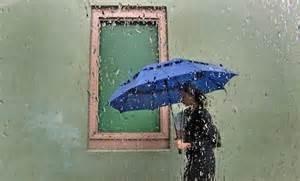 rain with girl and umbrella
