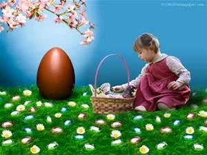 Easter egg huge girl hunting with basket
