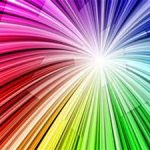 Rainbow colors in a burst