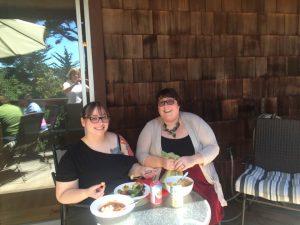 Jessica's retreat eating in the shade Kari & Nikki