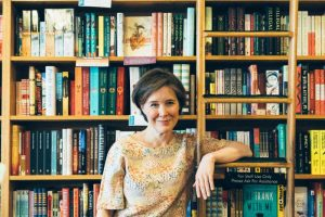 ann-pachett-arm-around-laddar-in-book-store